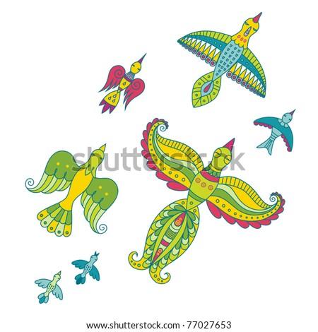 Bright color birds - stock vector