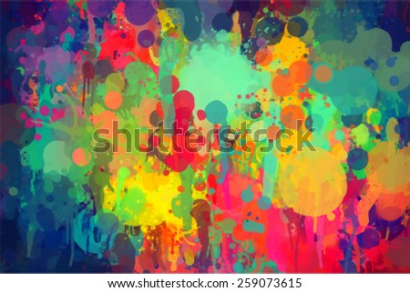 Bright color brush strokes background. Vector version