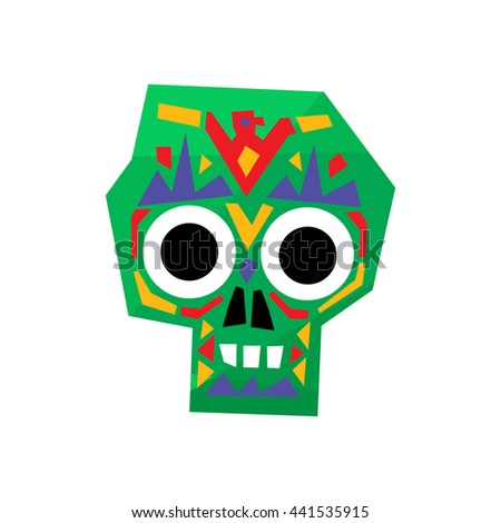 Bright Color Traditional Mexican Painted Scull Icon - stock vector