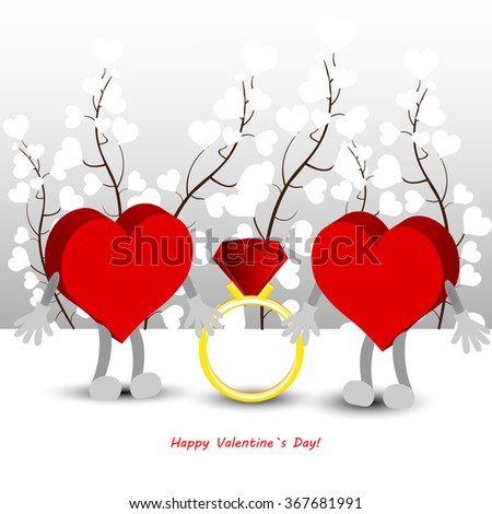Bright color vector graphic illustration of Valentine day love holiday with symbol of beautiful heart shape on white background