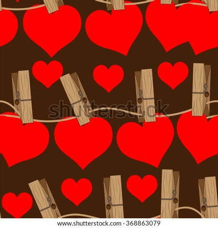 Bright color vector graphic illustration of Valentine day love holiday with symbol of beautiful heart shape on brown seamless background