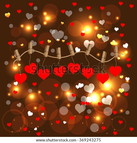 Bright color vector graphic illustration of Valentine day love holiday with symbol of beautiful heart shape on brown background