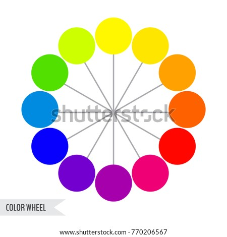 Bright Color Wheel Chart Isolated On Stock Vector 770206567