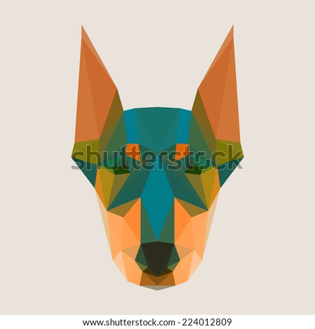 Bright colored abstract doberman polygonal background - stock vector
