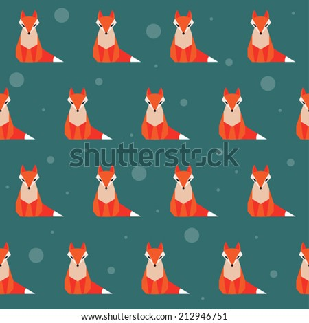 bright colored abstract geometric cartoon fox seamless pattern background - stock vector