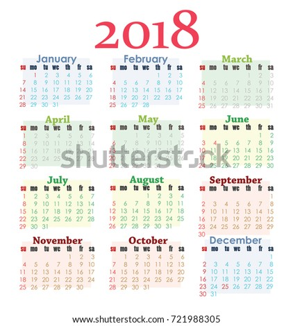 Bright colored 2018 calendar on white background. Weeks start with Sunday. Colored blocks for each of season