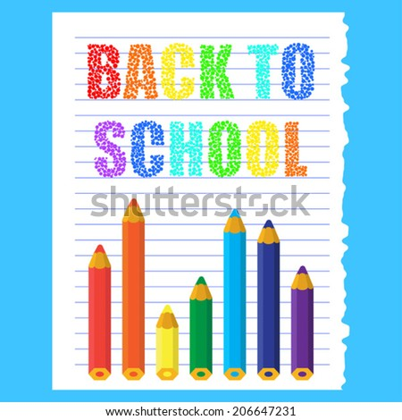bright colored cartoon back to school vector background - stock vector