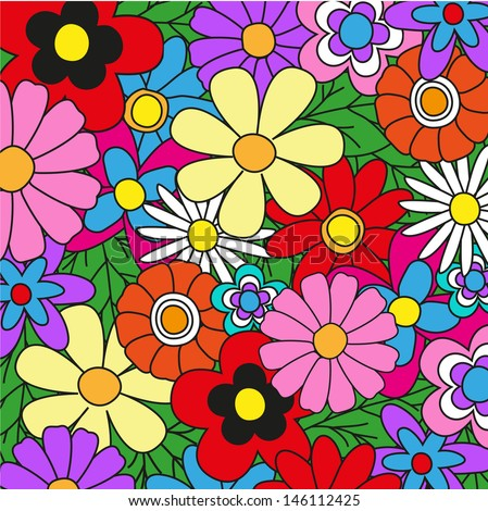 Bright colored floral background for your design - stock vector