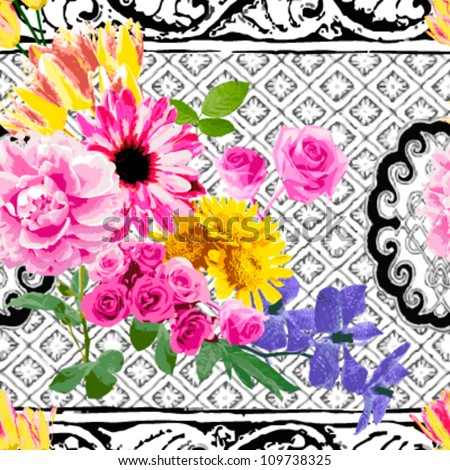 Bright colored flower on the background in black and white.  seamless - stock vector