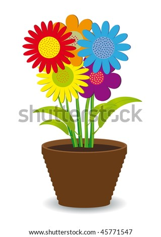 Bright colored flowers in a pot. - stock vector