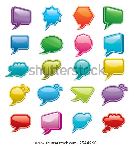 Bright colored, glossy web chat boxes. - stock vector