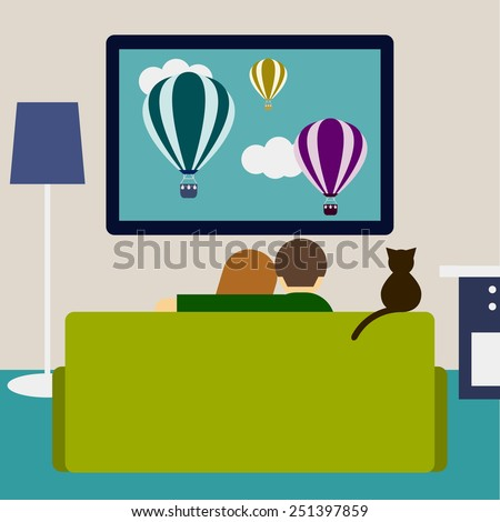 bright colored illustration in a trendy flat style with couple and cat watching film on television sitting on the couch in the room - stock vector