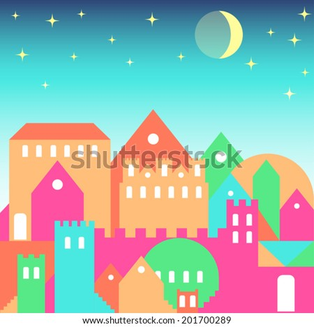 bright colored illustration with evening city for use in design for card, invitation, poster, banner, placard or billboard cover
