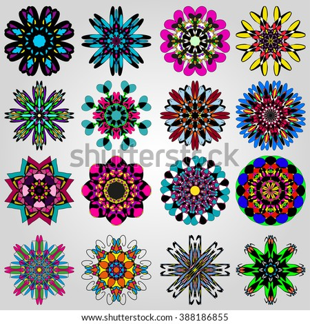 bright colored mandala collection of symbol