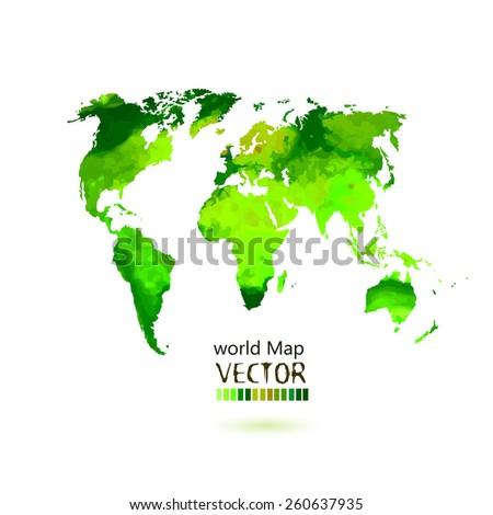 bright colored map of the world on a white background. Vector