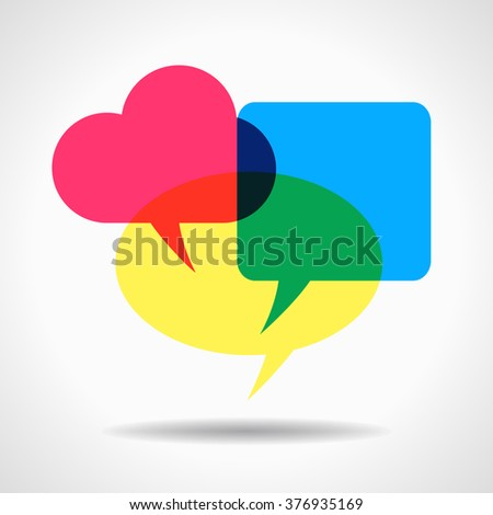 Bright colored overlapping speech bubbles. This work - eps10 vector file, contain transparent elements - stock vector