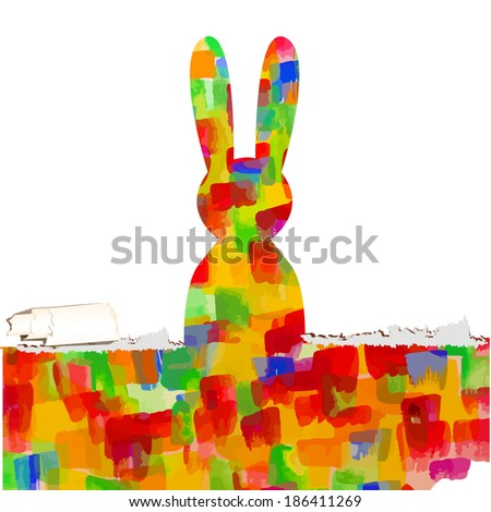 bright colored rainbow rabbit. happy Easter. Vector - stock vector