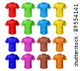 Bright colored shirts. Illustration on white background for design - stock vector