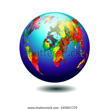 bright colored surround Globe - stock vector