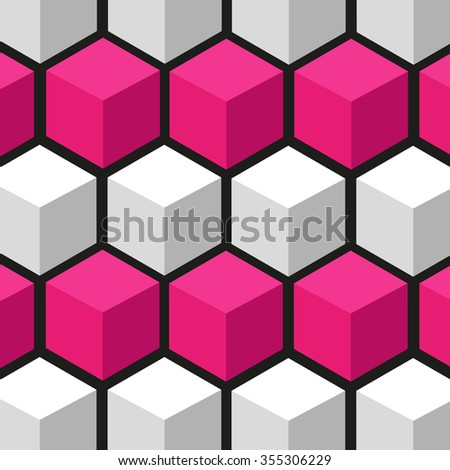 bright colorful background from cubes/hexagons.vector illustration eps10 color:whire/red - stock vector