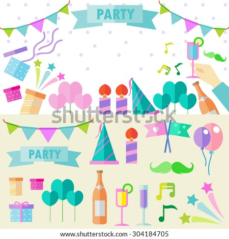Bright colorful cheerful cute pattern on the theme of parties.  - stock vector