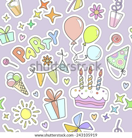Bright colorful cheerful cute seamless pattern on the theme of children's parties. Balloons, cake with candles, ice cream, sweets, gifts, flowers, hearts, sparkles, glasses on purple background. - stock vector