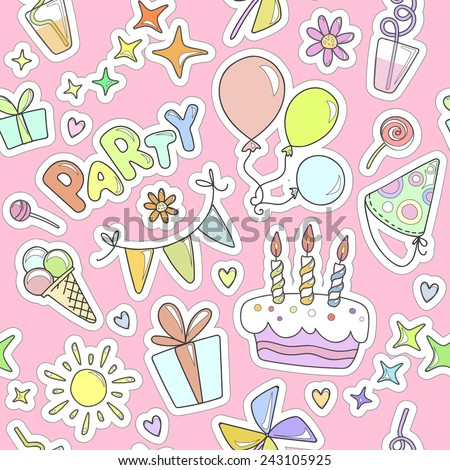 Bright colorful cheerful cute seamless pattern on the theme of children's parties. Balloons, cake with candles, ice cream, sweets, gifts, flowers, hearts, sparkles, glasses on a pink background. - stock vector