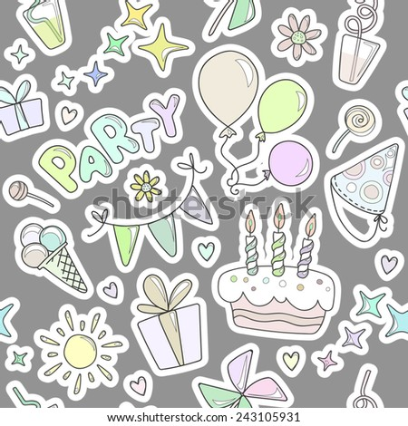 Bright colorful cheerful cute seamless pattern on the theme of children's parties. Balloons, cake with candles, ice cream, sweets, gifts, flowers, hearts, sparkles, glasses on a gray background. - stock vector