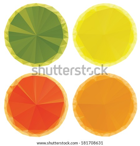 Bright colorful citrus fruit orange, lime and lemon, triangular geometric style - stock vector