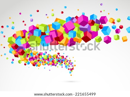 Bright colorful cube 3d swoosh background. Vector illustration