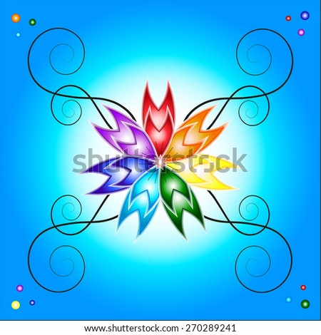 Bright, colorful decorative element in the form of a flower with multicolored petals on a blue background. Can be used as greeting cards for all kinds of celebrations. - stock vector