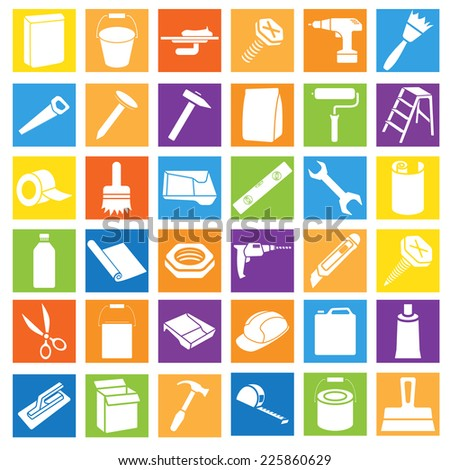 Bright Colorful Flat Icons of House Remodel Theme. All-in-One Set for Your Own Design - stock vector
