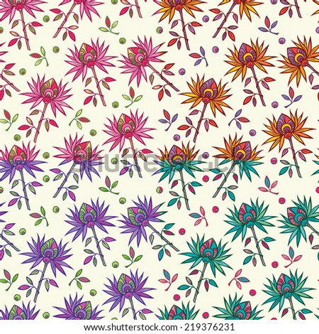 Bright colorful flowers on light beige background. Seamless  floral vector design. Exotic pattern.  - stock vector