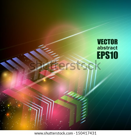 Bright colorful flying arrows on a fantastic design background. Vector Illustration. - stock vector