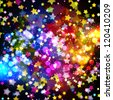 Bright colorful flying stars on a fantastic design background. Vector Illustration. - stock photo