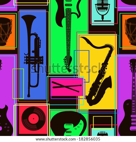 Bright colorful geometric seamless pattern of musical instruments