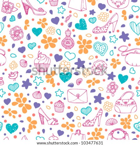 Bright colorful girly seamless pattern