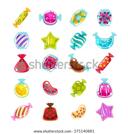 Bright Colorful Glossy Candies with Sparkles. Vector Illustration Collection - stock vector