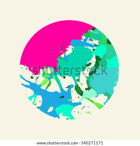 Bright colorful green and pink artistic paint splashes in a circle.
