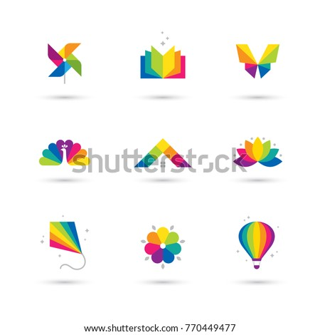 Bright colorful icons set book windmill stock vector 770449477 bright colorful icons set with book windmill toy butterfly peacock house roof mightylinksfo