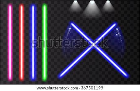 Bright colorful laser beam. Light swords on isolated transparent black background. Spotlight. Vector illustration. - stock vector
