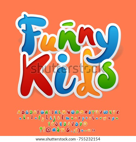 Bright Colorful Logo Text Funny Kids Stock Vector 755232154