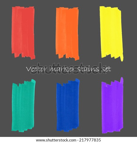 Bright colorful marker stains set