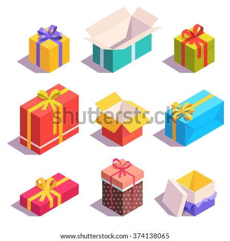 Bright, colorful present and gift boxes with ribbon bows. Flat isometric illustration on white background. - stock vector
