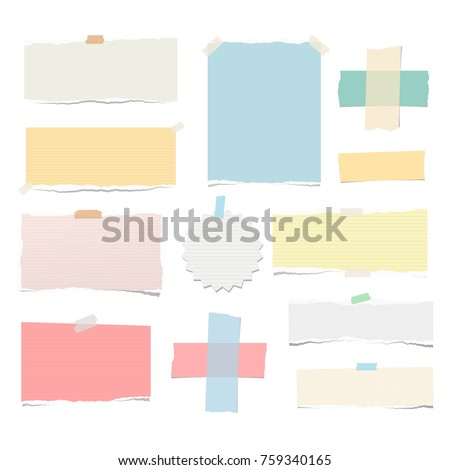 Bright colorful ripped strips, notebook, note paper, adhesive tape for text or message stuck on white background.
