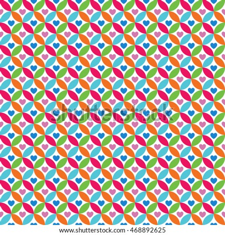 Bright colorful seamless pattern for baby style. Vector illustration for children background. Funny crazy kids paint. Happy geometry shapes. Heart simple ornament for greeting card, invitation.