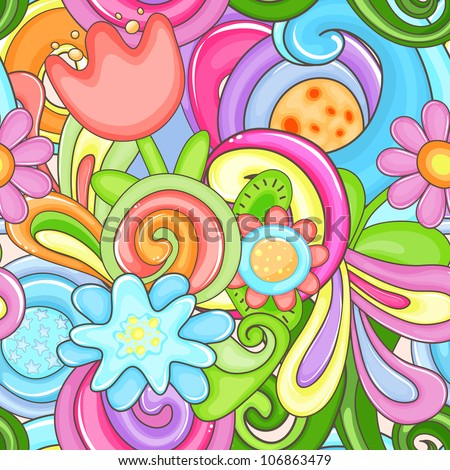 Bright colorful seamless with flowers - stock vector