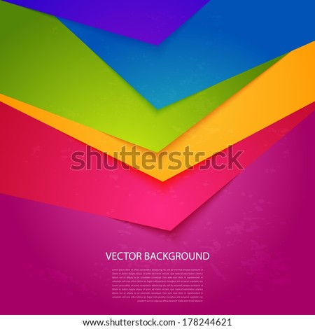 Bright, colorful stripe. Vector background with realistic shadows - stock vector