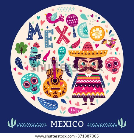 Bright colorful stylish vector illustration about Mexico. Pattern with symbols of Mexico: skull, flowers, guitar, maracas, bird. Original illustration and design. - stock vector