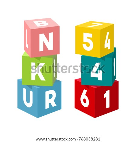 Bright Colorful Toy Bricks Building Towers Block Vector Illustration On White Background Cubes With